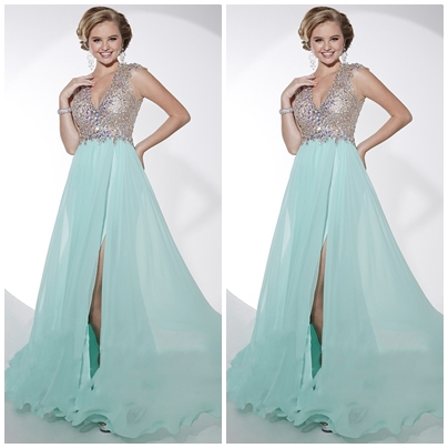 A-LINE BACKLESS V-NECK CHIFFON CAP SLEEVES LONG PROM DRESSESps