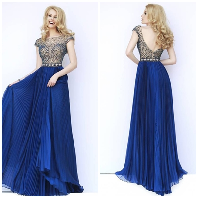 A-LINE CHIFFON BATEAU FLOOR-LENGTH EMPIRE LONG PROM DRESSESps