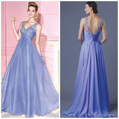 A-LINE ZIPPER V-NECK CHIFFON FLOOR-LENGTH LONG PROM DRESSESps